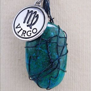 Zodiac Chrysocolla Wire Wrapped Crystal Necklace